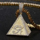 18kゴールド CZダイヤ エジプトノピラミッド ホルスの目 ペンダント