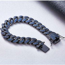 幅5mm 18kゴールド CZダイヤ ブルー キューバン ブレスレット