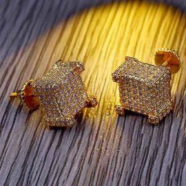 ゴールドCZダイヤモンドスクエアピアス