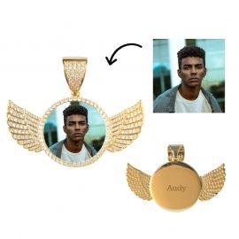 18kゴールド CZダイヤ 天使の翼 カスタマイズ ペンダント