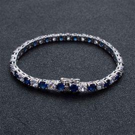 5mm ホワイト&ブルー CZダイヤ ブレスレット