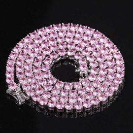 4mm ホワイトゴールド ピンク テニス チェーン