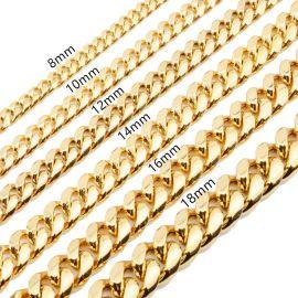 ゴールド 12mm ステンレススチール キューバ リンク チェーン セット