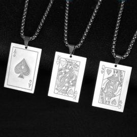 ポーカーカード A Q J 10 ステンレススチール ペンダント