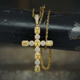 ゴールド イェロー&ホワイト CZ-ダイヤ クロス ペンダント