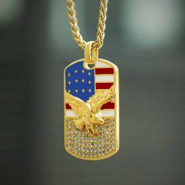 アメリカ国旗 イーグル ダイヤモンド ドッグタグ ペンダント