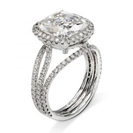 3.0 Ct クッション カット ハロー リング