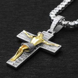 ホワイトゴールド イエス クロス ペンダント