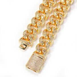 ゴールド ユニークな15mmドリップ シェイプ キューバ ブレスレット