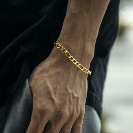 ゴールド 幅5mm ステンレススチール フィガロ ブレスレット