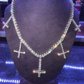 幅5mm ホワイトゴールド 十字架 テニス チェーン ネックレス