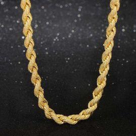 8mm ゴールド CZダイヤ ロープ チェーン ネックレス