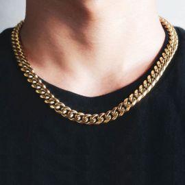 幅10mm ゴールドキューバンネックレス