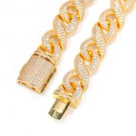 15mm ゴールド CZダイヤ インフィニティ チェーン