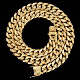 幅18mm ゴールド キューバン ネックレス