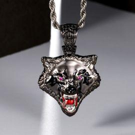 ブラックゴールド ホエル オオカミ ヘッド ペンダント
