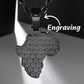 ブラックゴールド アフリカン ブラックパンサー マップ ペンダント