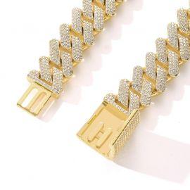 ボックスクラスプ ゴールド 20mm キューバ ブレスレット