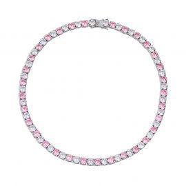 ホワイトゴールド 5mm ピンクとホワイト CZダイヤ テニス チェーン