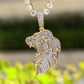 ゴールド サイド ライオンヘッド ペンダント