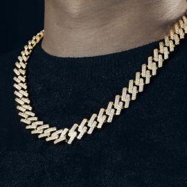 14mm ゴールド CZダイヤ キューバン ネックレス