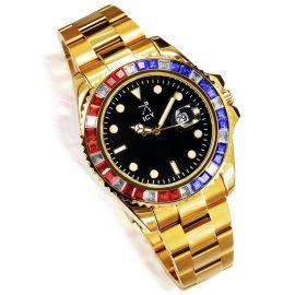 40mm ゴールド ブラック ルミナスダイヤル ウォッチ 時計