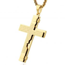主の祈り ステンレススチール クロス ペンダント
