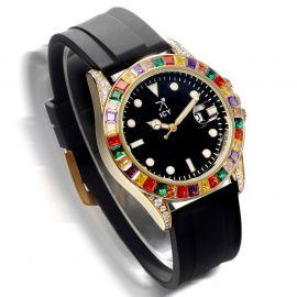 40mm カラフルなCZダイヤ ブラック ラバーストラップ付き ブラック ルミナスダイヤル ウォッチ 時計