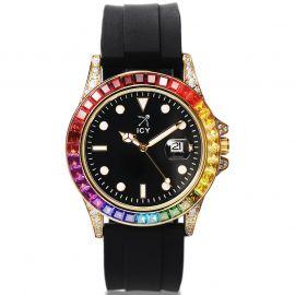 40mm 虹色CZダイヤ ブラック ラバー ストラップ付き ブラック ルミナス ダイヤル ウォッチ 時計