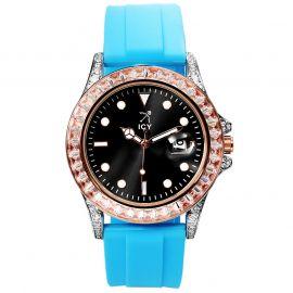 ブルー ラバーストラップ付き 40mm ブラック ルミナス ダイヤル ローズゴールド ウォッチ 時計