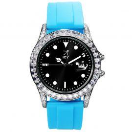ブルー ラバー ストラップ付き 40mm ブラック ルミナス ダイヤル ウォッチ 時計