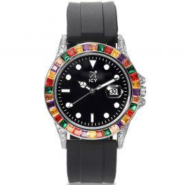 40mm マルチカラーCZダイヤ ブラック ラバーストラップ付き ブラック ルミナスダイヤル ウォッチ 時計