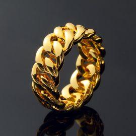 10mm ゴールド キューバ リング