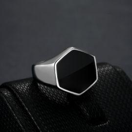 ホワイトゴールド ブラック 六角形 チタンスチール リング