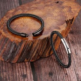 ホワイトゴールド 磁気クラスプ メンズ 編み込み革 ブレスレット