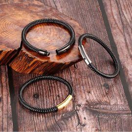 ゴールド 磁気クラスプ メンズ 編み込み革 ブレスレット
