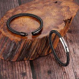 ブラック 磁気 クラスプ メンズ 編み込み革 ブレスレット
