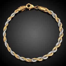 3.5mm ゴールド&シルバー ダブルカラー ロープ ブレスレット