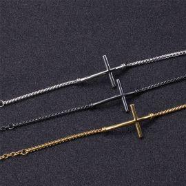 3.4mm クロス チタンスチール フランコ ブレスレット