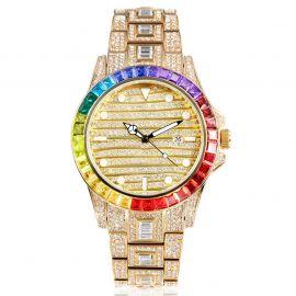 ゴールド バゲット&ラウンドカット 虹色 ルミナスダイヤル 時計