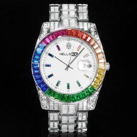 虹色 バゲットカット ホワイト ダイヤル カレンダー ウォッチ 時計