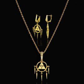 ゴールド エジプトのピラミッド ホルスの目 ペンダント + イヤリング セット