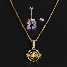 音楽シンボル ペンダント + クラウン「23」非対称イヤリング セット
