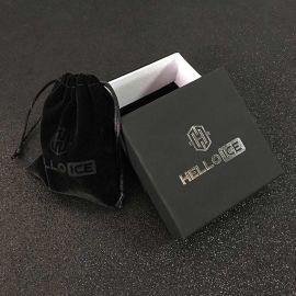 5mm ブラックCZダイヤ テニス チェーン セット + ハギー ピアス セット
