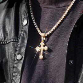 ゴールド バゲット CZダイヤ クリスチャン クロス ペンダント