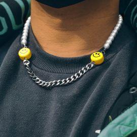 笑顔 パールとスチール キューバ ネックレス