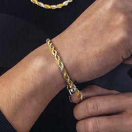 5mmゴールド&シルバー ダブルカラー ロープ ブレスレット