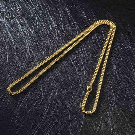 ゴールド 3mm キューバ チェーン