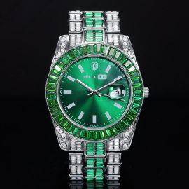 ホワイトゴールド エメラルド ベゼル グリーン 日付表示ダイヤル メンズウォッチ 時計