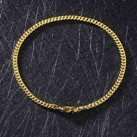 ゴールド 3mm キューバ ブレスレット